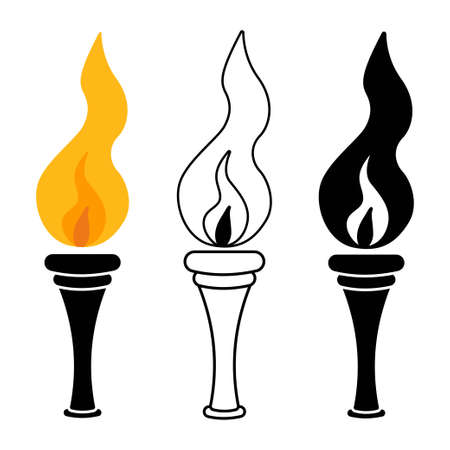Torch with fire vector cartoon set isolated on a white background.