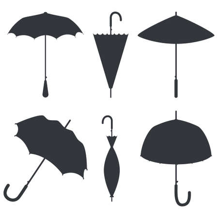 Umbrellas black silhouettes vector set isolated on a white background.