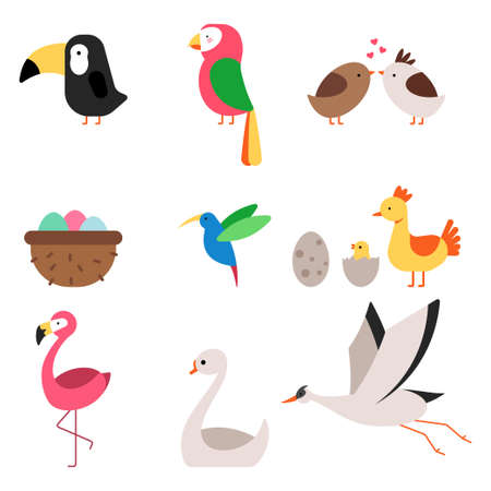 Cute cartoon birds vector flat simple icons set isolated on a white background.