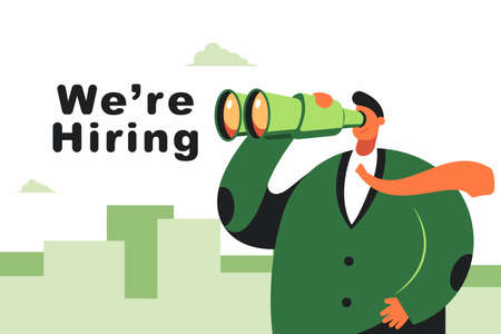 We're hiring vector flat concept illustration with businessman with binoculars isolated on city skyline background.