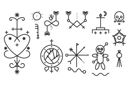 Spiritual voodoo symbol vector linear icons set isolated on a white background.