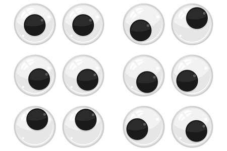 Plastic eyes for toys, dolls. Eyeballs vector cartoon set isolated on white background. Ilustrace
