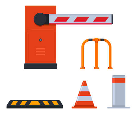 Parking barriers vector cartoon set isolated on a white background.
