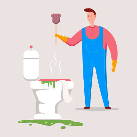 Plumber with plunger unclog a toilet. Vector cartoon illustration.