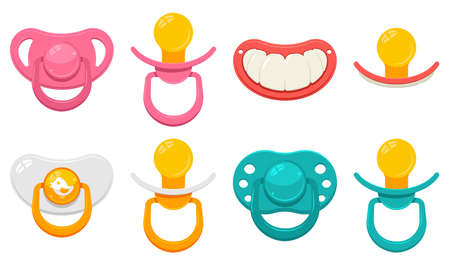 Baby pacifier in different type for boys and girls vector cartoon set isolated on a white background. Ilustrace
