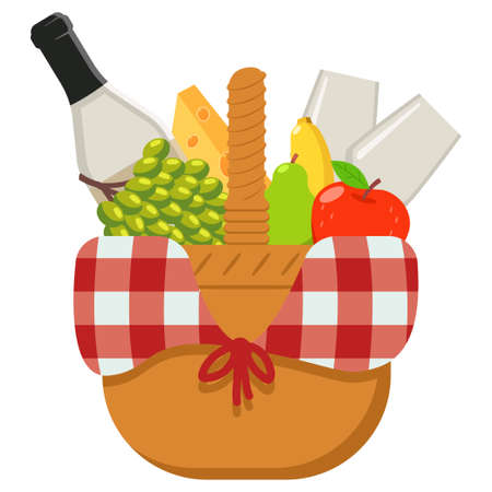 Picnic basket with food and wine. Vector cartoon illustration isolated on a white background.