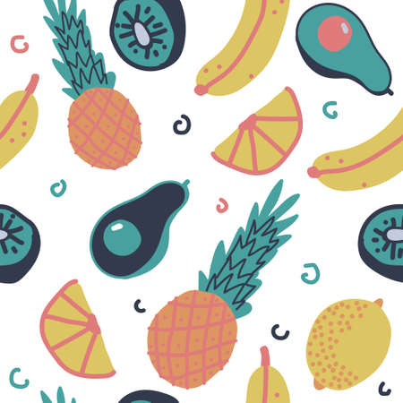 Fruit vector seamless pattern on a white background for wallpaper, wrapping, packing, and backdrop. Ilustrace