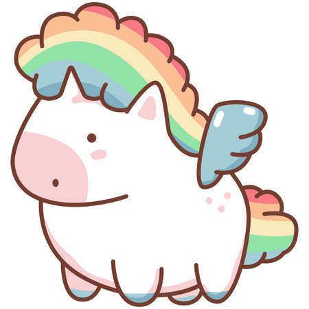 Cute kawaii unicorn with rainbow hair and angel wings. Vector cartoon character isolated on a white background.
