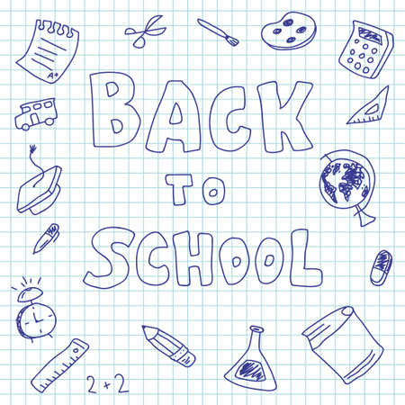 Back to school vector poster with doodle elements. Ilustrace
