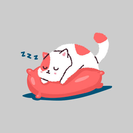 Cute cartoon cat sleeping on pillow. Vector pet character isolated on background. Ilustrace