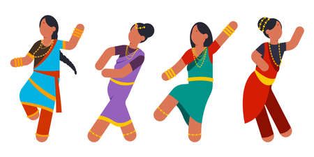 Indian women dance in national costumes in various poses. Girl dancer character vector cartoon set isolated on white background.