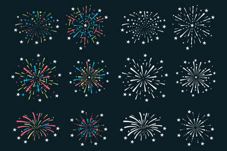 Colorful fireworks vector cartoon set isolated on background.