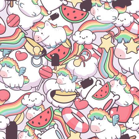 Kawaii unicorn and cloud vector seamless pattern.