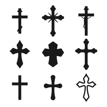 Christian cross vector black silhouette set isolated on a white background.