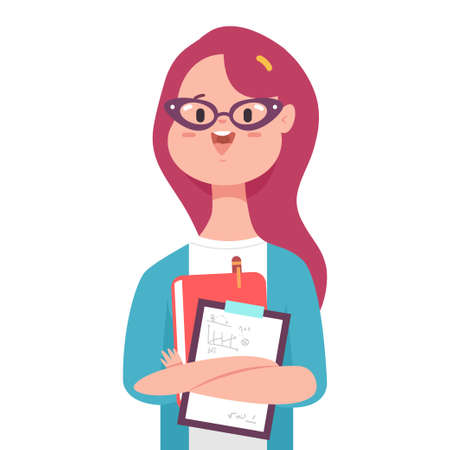 School teacher with book vector cartoon cute girl character isolated on a white background. Ilustrace