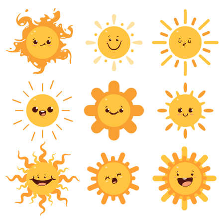 Cute sun with different emotions. Vector cartoon flat funny characters set isolated on white background. Ilustrace