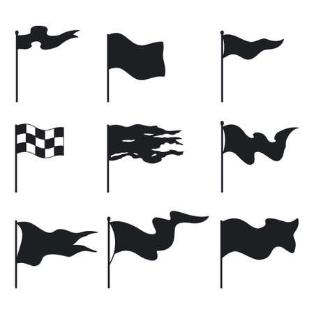 Waving flags black silhouette vector flat set isolated on white background.