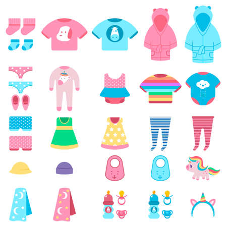 Baby clothes and toys vector cartoon set isolated on a white background.