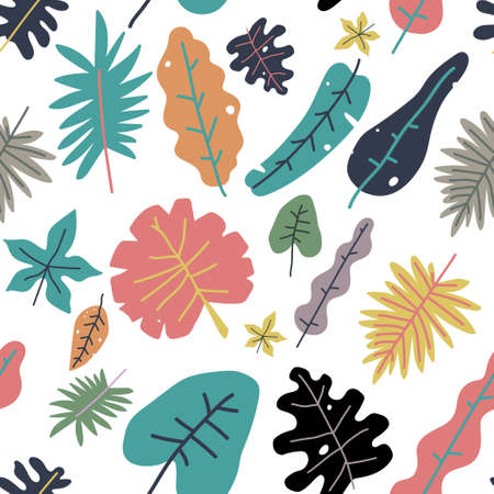 Summer vector seamless pattern with different tropical leaves on a white background for wallpaper, wrapping, packing, and backdrop.