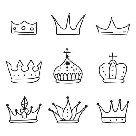 Crown sketch vector black silhouette set isolated on a white background.