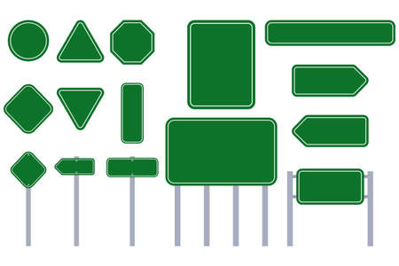 Road green sign vector flat template set isolated on a white background.