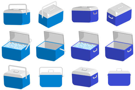 Ice cooler box vector cartoon set. Handheld camping refrigerator illustration isolated on a white background. Vector Illustratie