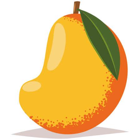 Mango with leaf tropical exotic fruit. Cartoon vector flat icon isolated on white background.