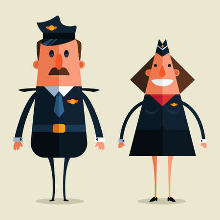 Airplane pilot and stewardess character isolated on background. Vector cartoon flat illustration with airport staff.