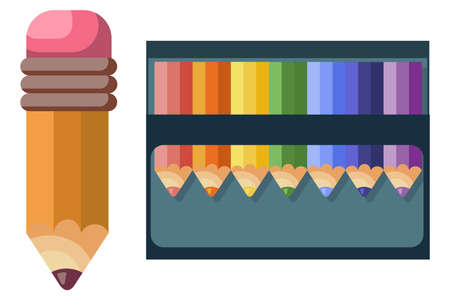 Colored pencils for school and drawing vector icons set isolated on white background.