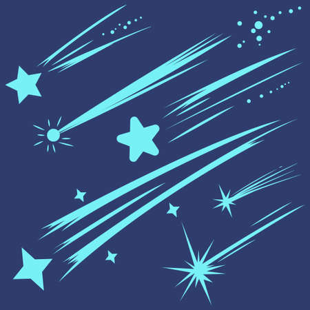 Falling stars, meteorites and comets vector set isolated on blue background.