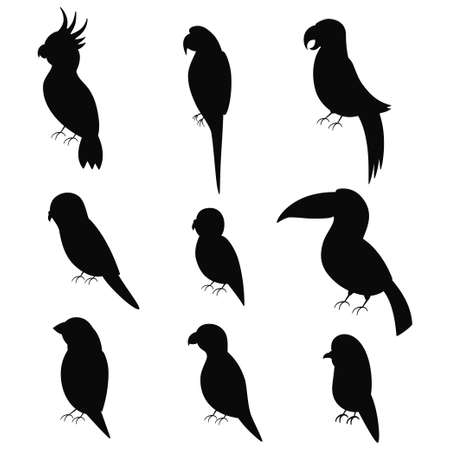 Exotic parrots black silhouette vector icon set isolated on white background.