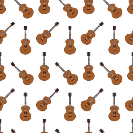 Acoustic guitar seamless pattern on a white background. Vector flat icon of musical instruments isolated on backdrop. Illusztráció