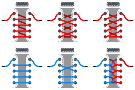 Red and blue laces vector set. Schemes of tying shoelaces isolated on white background. Ilustrace