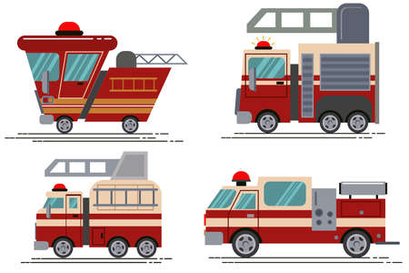 Cartoon fire truck vector icon set isolated on white background. Illustration of kids toys in a flat style. Ilustrace