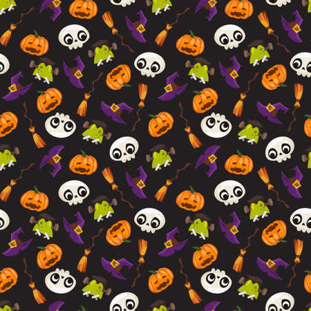 Halloween vector seamless pattern with skull, hat and broom witch, monster head and pumpkin isolated on a black background.