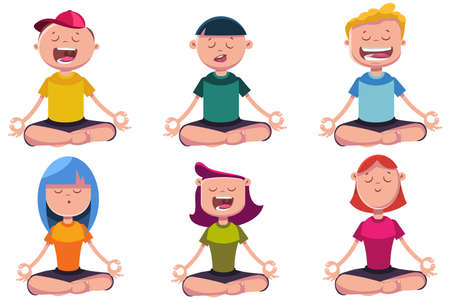 Meditation of kids engaged in yoga. Vector cartoon character set of boys and girls sitting in lotus pose.