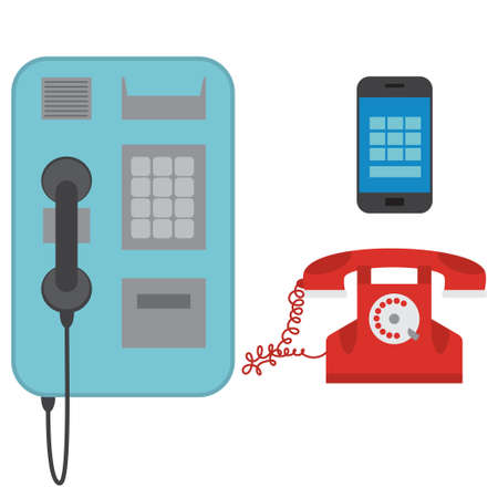 Telephones with a dial, buttons and touch. Old and modern technology. Vector set of flat icons isolated on white background.