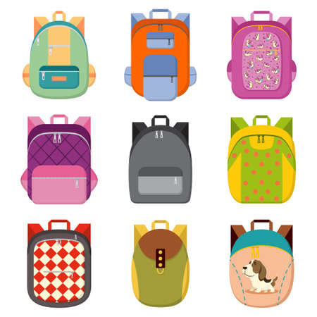 School, college or tourist backpack set. Book bag with different colors and patterns of unicorns, dog, rhombuses, circles, etc. Vector cartoon flat icons isolated on white background. Ilustrace