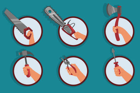 Human hand holding building and repair tool: saw, chainsaw, axe, hammer, pliers and screwdriver. Vector set of flat icons isolated on background. Ilustrace