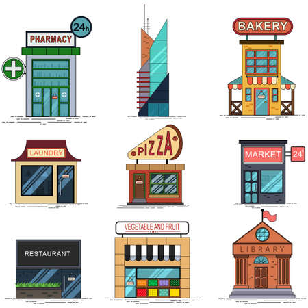 City buildings set: pizzeria, bakery, business center, pharmacy, laundry, market, restaurant, grocery store and municipal library. Vector cartoon flat icons of houses isolated on white background.