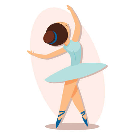 Ballerina girl whirls in dance in a blue tutu dress. Vector cartoon illustration isolated on background. Ilustrace