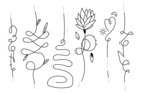 Unalome hand drawn tattoo vector design elements set isolated on a white background.