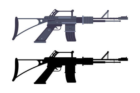 Assault rifle vector weapon isolated on a white background.