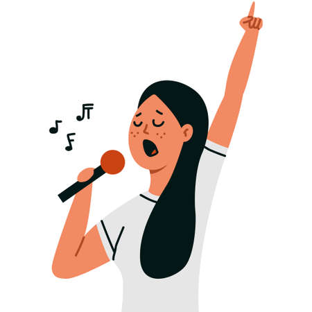 Karaoke vector cartoon illustration with a woman singing into a microphone isolated on a white background.