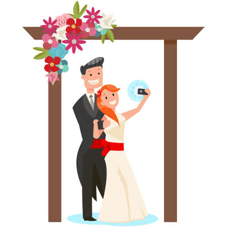 Bride and groom make selfie on the background a wedding arch of flowers. Vector cartoon illustration of a couple of newlyweds isolated on white background.