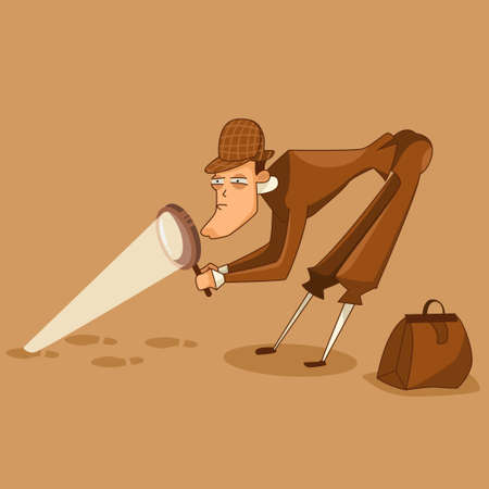 Detective in the hat is looking for clues through a magnifying glass character. Vector illustration of a male investigator.