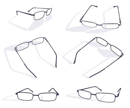 Black silhouette of eye glasses frame set. Vector flat icons isolated on white background.