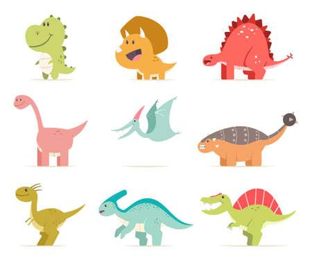 Cute cartoon baby dinosaur set. Vector flat prehistoric animals isolated on white background.