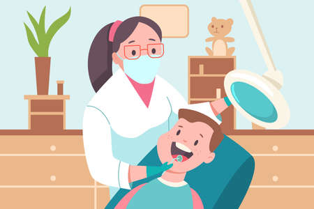 Child in a dental office. Doctor dentist and patient. Vector cartoon flat medical illustration. Vettoriali