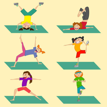 Yoga girl set. Different poses of gymnastics for a healthy lifestyle. Vector illustration isolated on background.